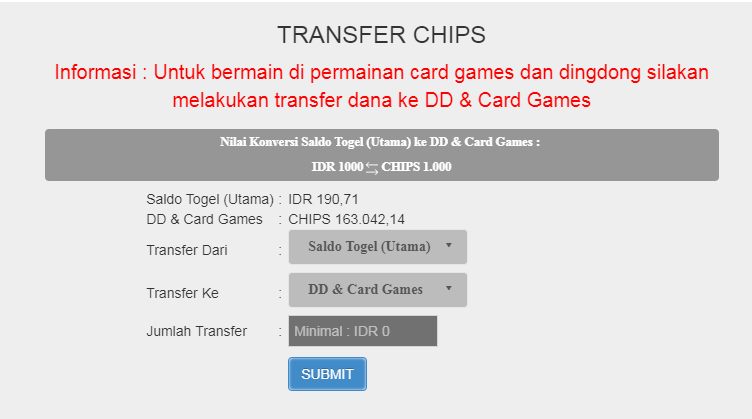 Menu Transfer Dana