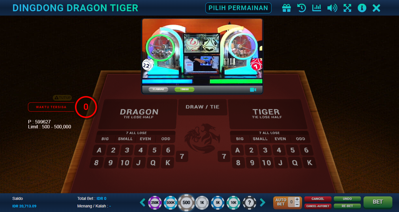 Variasi Bettingan Live Dingdong Dragon Tiger